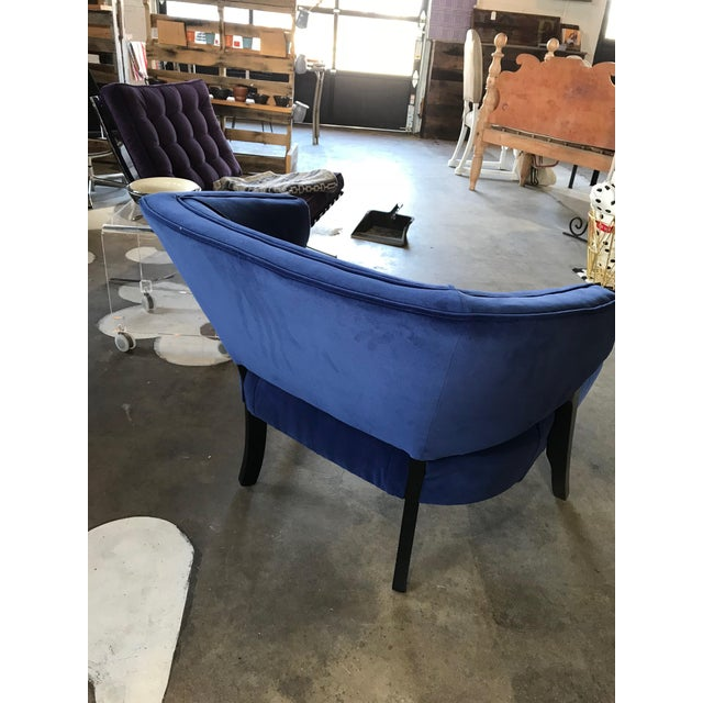 Fabulous club chair has great cobalt Knoll Textiles velvet type fabric paired with great frame. Great lines, button tufted...