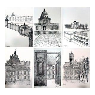 """1978 Jacques Chevalier """"Dessins De Paris"""" Lithographs- Set of 6"""