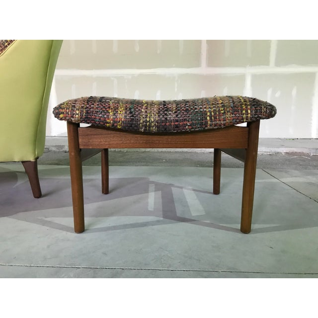 Lawrence Peaboby for Richardson / Nemschoff 1960s Mid Century Modern Scandinavian High Back Lounge Chair Model 9203 and Ottoman For Sale - Image 12 of 13