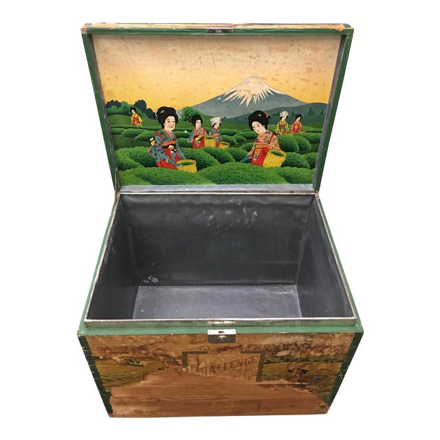 20th Century Japanese Tin Lined Tea Crate For Sale