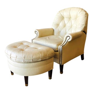 Vintage Distressed Leather Tufted Chair With Ottoman For Sale