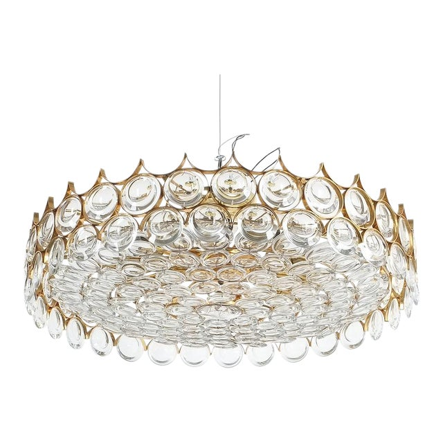 Palwa Xxl Refurbished Gold Plated Brass and Glass Semi Flush Mount Lamp For Sale