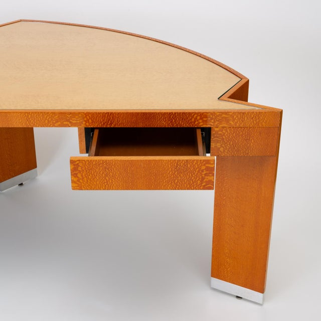 """Custom Lacewood """"Mezzaluna"""" Desk by Pace Collection For Sale - Image 10 of 13"""