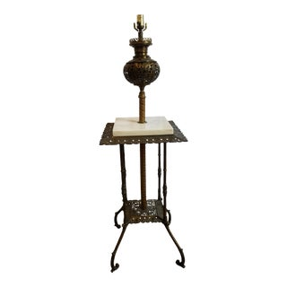 Antique Iron Brass and Marble Floor Lamp With Table For Sale