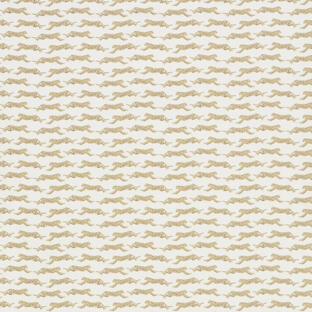 Boho Chic Sample - Schumacher Leaping Leopards Wallpaper in Sand For Sale - Image 3 of 4