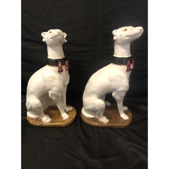 Vintage Greyhound Whippet Dog With Fringed Collar Figurines Statutes - a Pair For Sale - Image 4 of 4