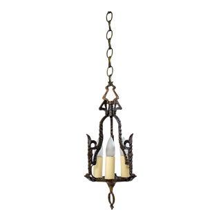 Early 20th Century Gothic/Tudor Three Light Pendant For Sale