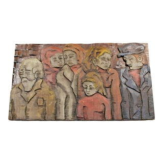 Mid Century Modernist Wood Wall Painted Art Sculpture Relief Jean Claude Gaugy For Sale