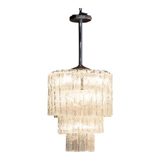Three Tiered Murano Tronchi Chandelier For Sale