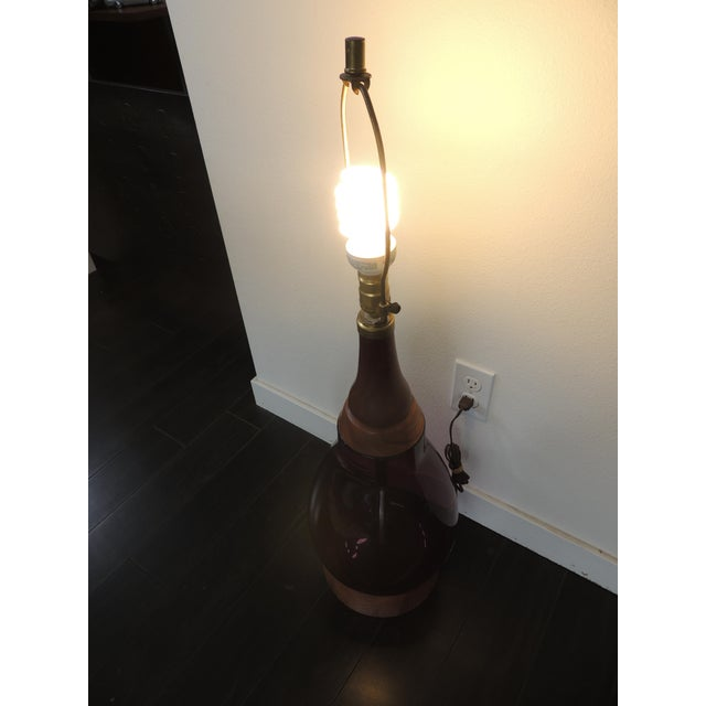 Purple Mid-Century Modern Blenko Purple Glass & Walnut Table Lamp For Sale - Image 8 of 10