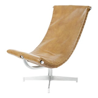 Mid 20th Century Leather Sling Chair With Chrome Base For Sale