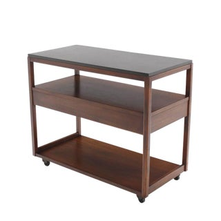 Three-Tier Walnut Serving Cart Server on Wheels