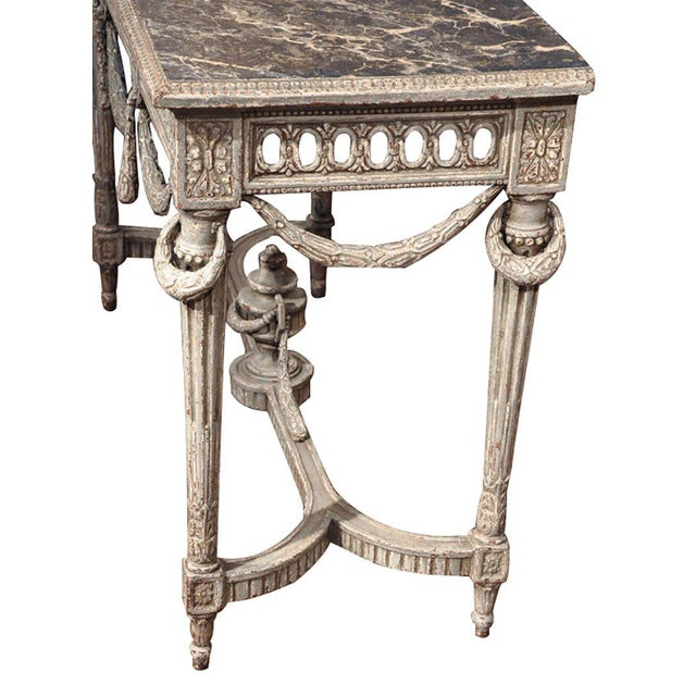 19th Century Louis XVI Carved Painted Faux Marble Top Consoles - a Pair For Sale - Image 9 of 9