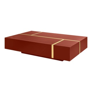 Flair Home Collection Righe Coffee Table in Cinnabar / Brass For Sale