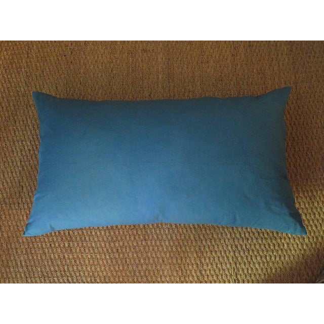 Venetian Turquoise Blue and Gold Linen Pillow For Sale - Image 4 of 5