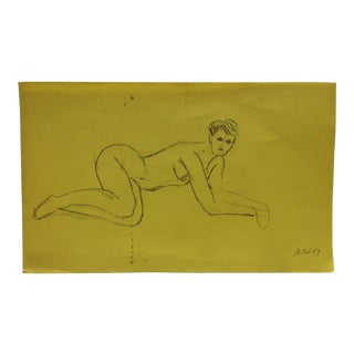 """Vintage Original Drawing on Paper, """"Sexy Nude Pose"""" by Tom Sturges Jr., 1947 For Sale"""