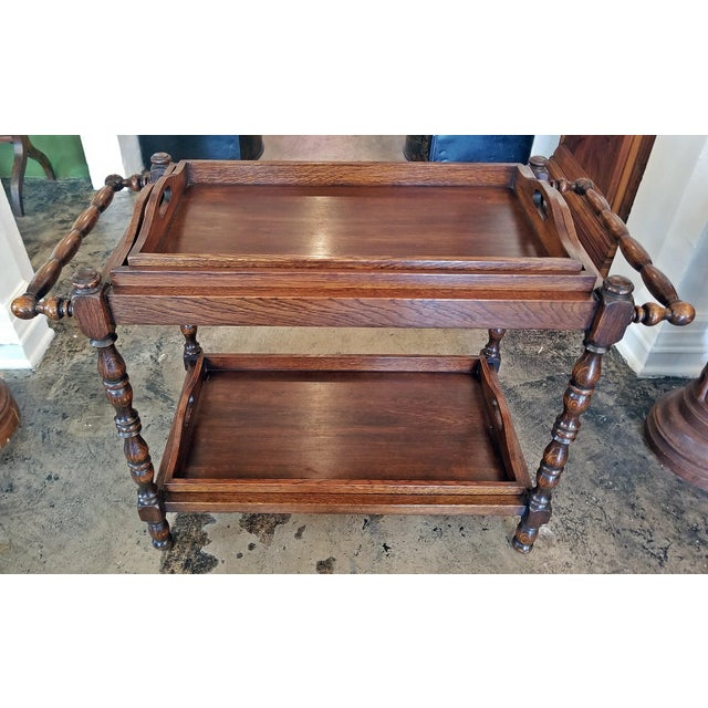 19c British Provincial Oak Butlers Tray Stand With 3 Trays For Sale - Image 13 of 13
