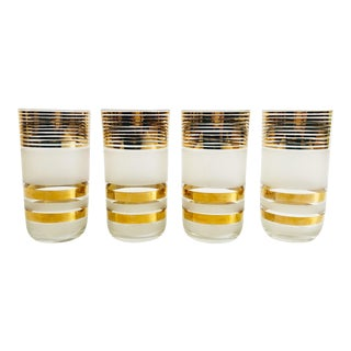 Mid Century Gold Striped Glasses - Set of 4 For Sale