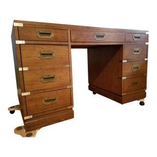 Vintage Campaign Sligh-Lowry Partner Desk For Sale