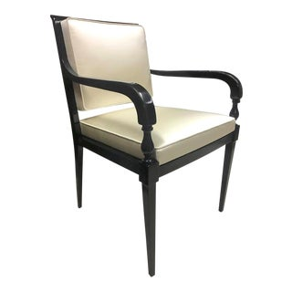 Andre Arbus Pair of Chic Neoclassic Black Lacquered Wood Chairs Covered in Silk For Sale