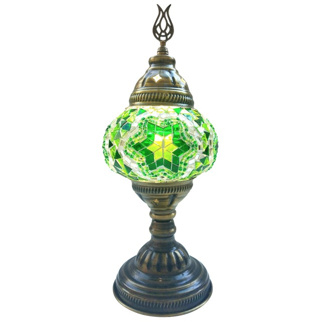 Handmade Green Mosaic Table Lamp - Image 1 of 4