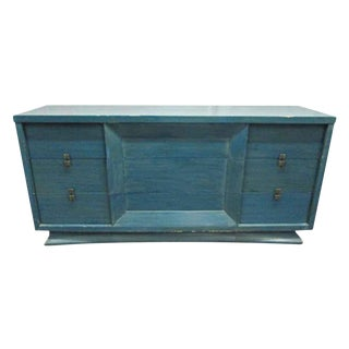 Mid-Century Blue Finish Wooden Dresser