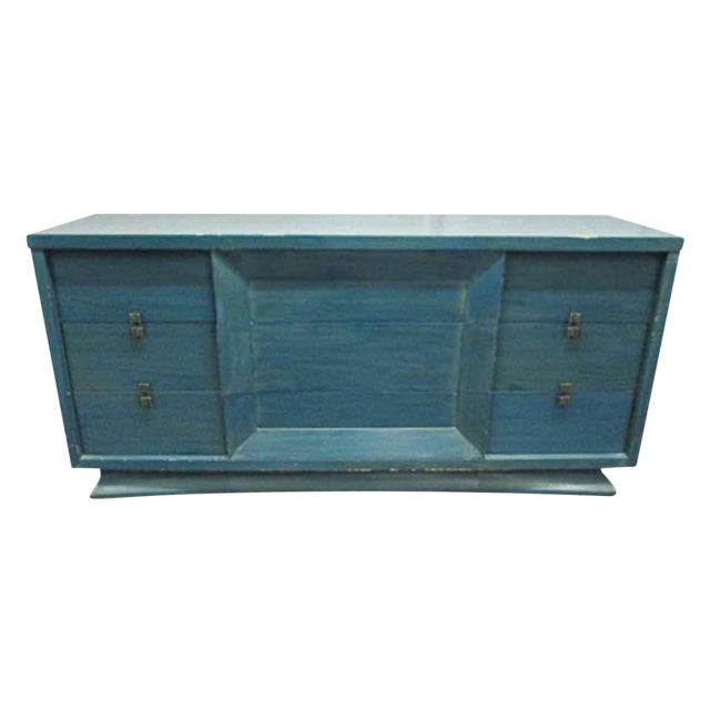 Mid-Century Blue Finish Wooden Dresser - Image 1 of 7