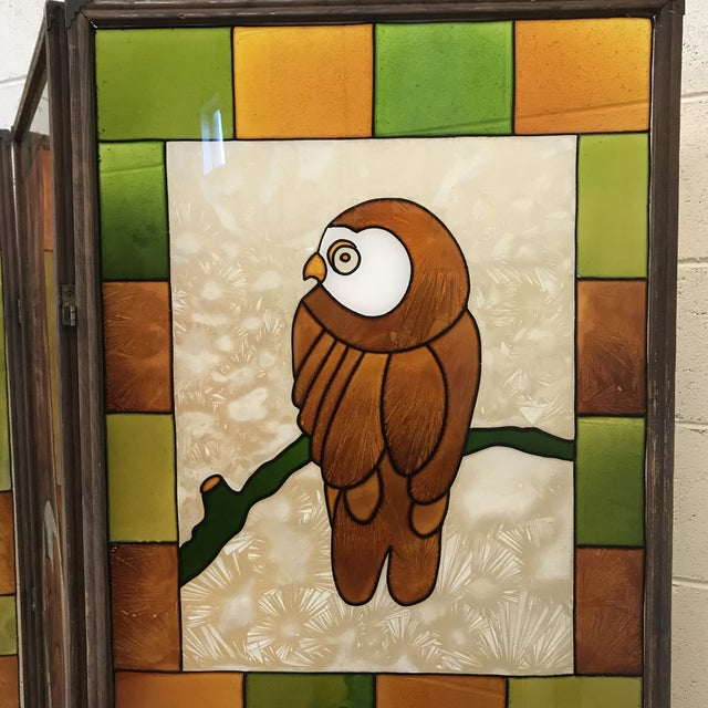 1970s Mid Century Kitchy 3-Panel Screen Room Divider For Sale - Image 5 of 13
