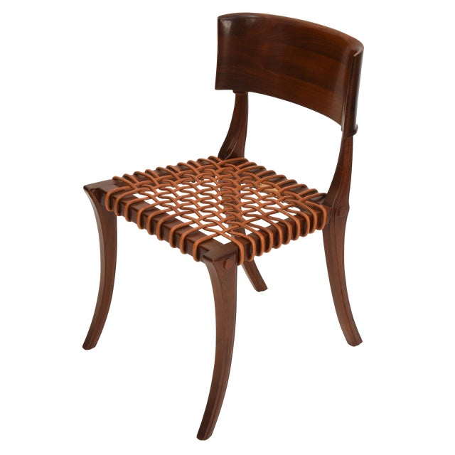 Klismos Chair by T H Robsjohn Gibbings Widdicomb With Original Leather Seat For Sale