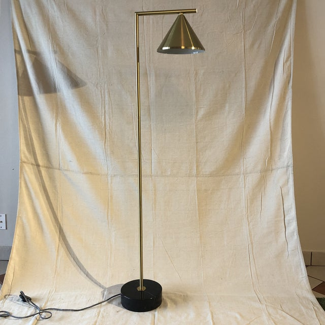 Mid-Century Style Brass and Black Marble Base Floor Lamp fiber cover on/off floor switch. Size: 12 x 60 x 9