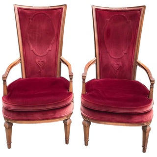 Pair of Red Velvet Hollywood Regency Highback Chairs For Sale