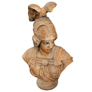 19th Century Terracotta Ares Bust Sculpture
