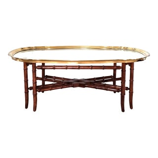 Baker Regency Faux Bamboo Brass Glass Tray Top Scallop Edge Cocktail / Coffee Table