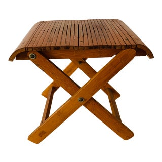 Vintage Tropical Chic Folding Camp Stool Plant Stand For Sale