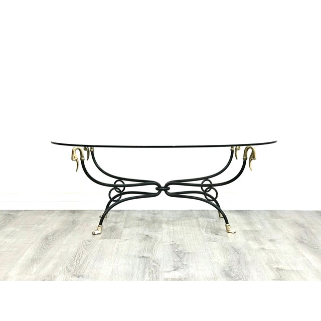 Beautiful swan brass and metal glass top coffee table in excellent vintage condition, small chip on the edge of the glass.