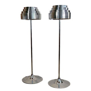 1970s Mid Century Chrome Torchere Floor Lamps - a Pair For Sale