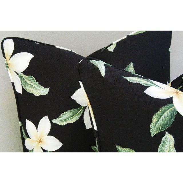 Custom Tropical Blossom Barkcloth Pillows - A Pair - Image 4 of 10
