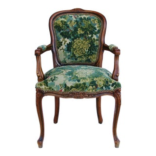 Scalamandre Marly Velvet Tapestry Fabric Walnut Armchair For Sale
