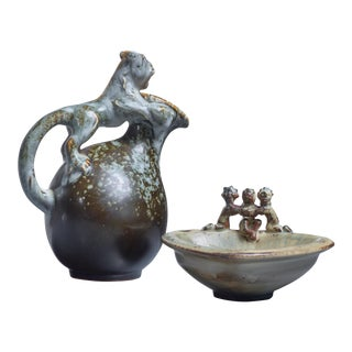 Bode Willumsen sculptural stoneware set of jug and bowl, Denmark, 1930s For Sale