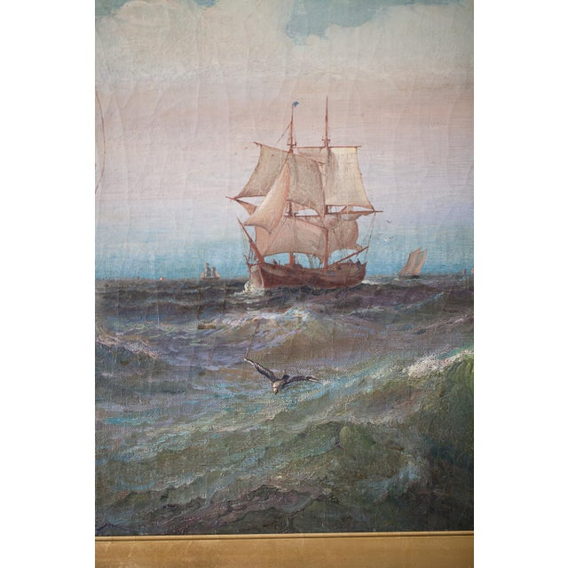 """Sky Blue """"Regatta on a Choppy Sea"""" Oil Painting on Canvas by Julian O. Davidson, Dated 1877 For Sale - Image 8 of 13"""