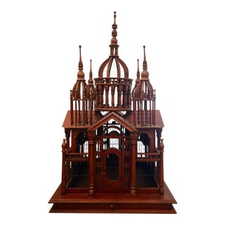 Oversize Neoclassical Wood Birdcage For Sale