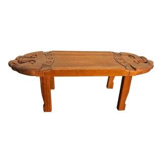 1970s Vintage Indonesian Carved Cat Wood Bench For Sale