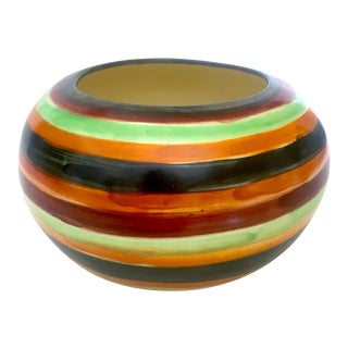 Vintage Mid Century Studio Pottery Variegated Multicolor Stripe Ceramic Planter Bowl For Sale