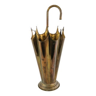Vintage Italian Brass Umbrella Stand For Sale