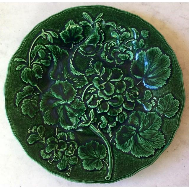 Green 1880 English Green Majolica Geranium Plate For Sale - Image 8 of 8