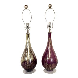 Contemporary Blown Art Glass Amethyst & 22-Karat Gold Infused Lamps - a Pair