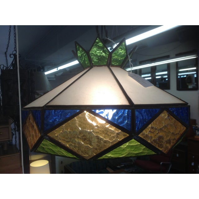 1970s Vintage Stained Glass Light Fixture - Image 4 of 5