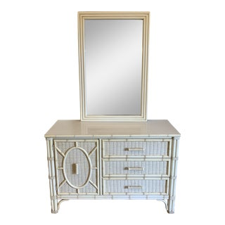 Henry Link Faux Bamboo and Wicker Dresser With Mirror For Sale