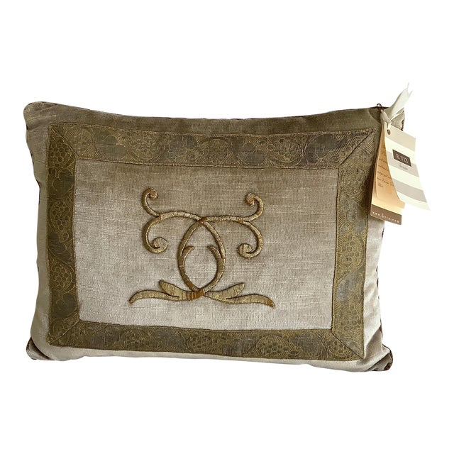 B. Viz Designs Silvery Gold Metallic Embroidery Pillow For Sale