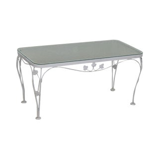 Woodard Ivy Vintage Wrought Iron White Painted Glass Top Patio Coffee Table For Sale